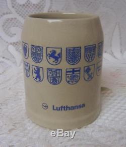 Vintage German Stoneware. 3l Beer Stein Mug Lufthansa