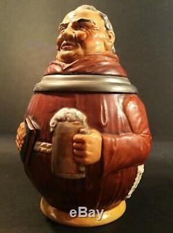 Vintage German beer stein. Beer drinking monk. Made in Germany