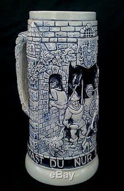 Vintage German stoneware salt glazed beer stein bierkrug 1L. Charging Knight
