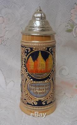Vintage Gerz German Cities Lidded Beer Stein Mug