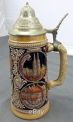 Vintage Gerz German Cities Themed Lidded Beer Stein Mug Hand Painted