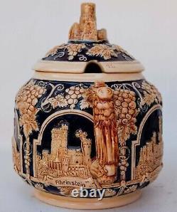 Vintage Gerz Punch Beer Cider Bowl and 18 mugs with German castles