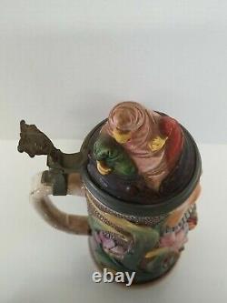 Vintage Gesetzlich Geschutzt Figural Joker Beer Stein RARE figure German antique