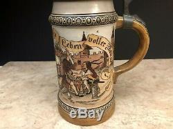 Vintage HR Hauber & Reuther #431 German Beer Stein Outdoor Drinking Scene 1L
