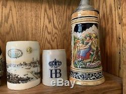 Vintage Hand Painted German Lidded Beer Stein (Gerz Original)