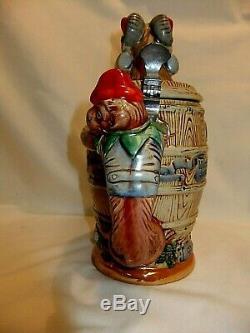 Vintage Hofbrauhaus Beer Stein German Ram Character in Barrel, Monkey Handle