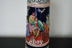 Vintage Jumbo German Lidded Beer Stein 19.5 Hunting Scene Handgemalt Gerz Serz