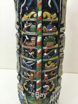 Vintage Large German Beer Stein King-Werks Maypole withPewter Lid, 15 1/2 Tall