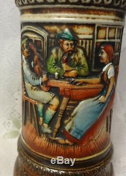 Vintage Large Herz German Lidded Beer Stein Dragon with Handle