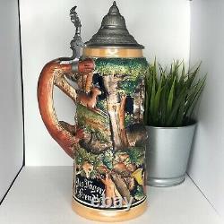 Vintage Lidded German Beer Stein withHunting scene and fox Handle 2L