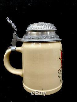 Vintage Mettlach PUG German Beer Stein. 5 L 1526 Villeroy & Boch Flags