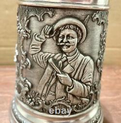 Vintage Pewter Grueling-Zinn 11 Oz. German Beer Lidded Stein