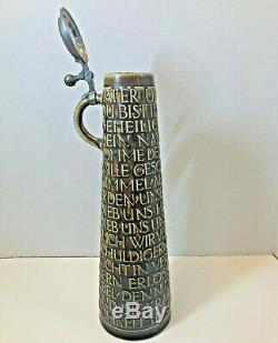 Vintage Reinhold Merkelbach German Beer Stein 1624 Lord's Prayer Pewter Lidded