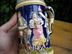 Vintage Rudolf Ditmar Majolica 1 Liter Germany German Beer Stein 1800's