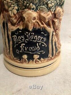 Vintage W German KING Beer Stein 2L Fox Handle Stag Jager Freud Die Grune Heid
