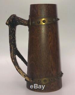 Vintage Wooden German Beer Stein Brass Studs and Resin Antler Handle