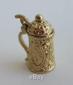 Vintage Yellow Gold German Beer Stein Mug Bracelet Charm Lid Foam Signed AG 14k