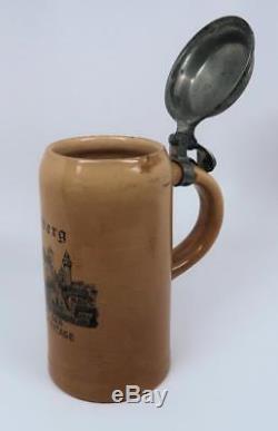 Vintage antique Nurnberg beer mug ceramic stein WW1 Imperial German Lowenbrau 1L