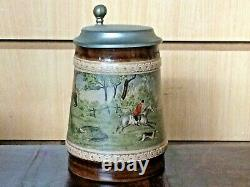 Vintage rare Midcentury Marzi and Remy German Beer Stein with Fox Hunting Scene