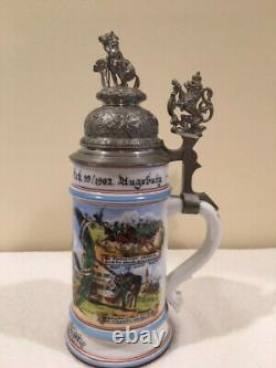 Vintage reproduction porcelain WW1 German regimental beer stein with lithoplane