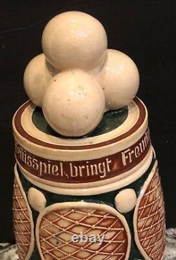 Vintagelarge German Beer Steinfigural Tennis Balls Racquetspotteryfabulous