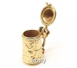 Vtg 14K Gold German Stein Pendant Charm Lid Opens Estate Souvenir Beer Pill Box