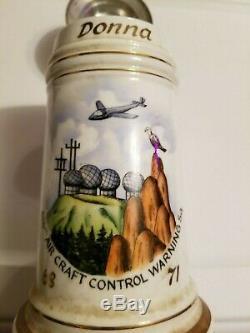 Vtg German Beer Stein Eagle Lid 616th Aircraft Control Warning Hidden Nude Litho