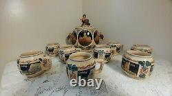 Vtg German Stoneware Pottery Soup Tureen/Punch bowl with8 Beer Stein Cups New