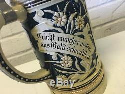 Vtg Possibly Antique Steuler & Co German Ceramic Liter Beer Stein Drinking Scene