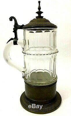 WMF Antique German Glass Beer Stein Ornate 13.5 Stein Engraved 1884
