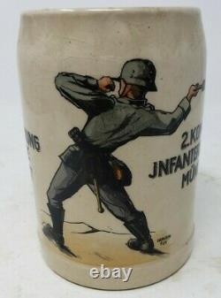 WWII German Beer Stein 2 Kompanie Infanterie Regiment 19 Munchen Stoneware 5x3