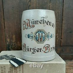 WWII German Stormtroopers Beer Stein Munich Beer Hall Putsch Genuine Bürgerbrau