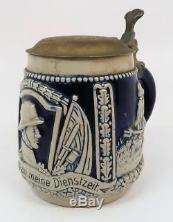 WWII vintage antique beer mug ceramic stein WW1 Imperial German 0.5L Wehrmacht