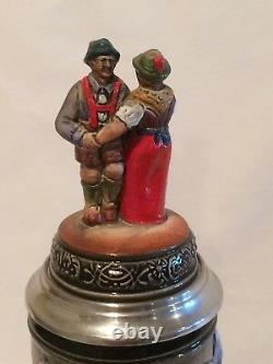 Zoller Born Hand Painted Stein Dancing Couple Alps Edelweiss LE German Beer LE